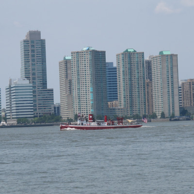 Fireboat John J Harvey against the New Jersey City Skyline, 2014
